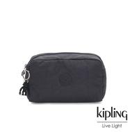 Kipling 都會簡約霧灰色長形化妝包-GLEAM