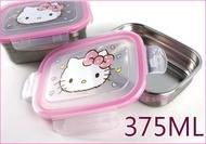 asdfkitty可愛家☆KITTY粉大臉不鏽鋼長方型-375ML 樂扣型保鮮盒/便當盒/快速解凍盒-韓國製