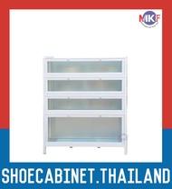 4 ชั้น สีขาว บานใส ตู้รองเท้าอลูมิเนียม กันน้ำกันปลวก ตู้รองเท้า ชั้นวางรองเท้า กล่องใส่รองเท้า ตู้อเนกประสงค์ ALUMINIUM SHOE CABINET
