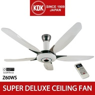 [Ceiling Fan] KDK Z60WS - 150cm Super Deluxe Ceiling Fan with 1/f Yuragi function LCD Remote control For Bungalow/Semi-D/Apartment with High Ceiling (3 metres and above)