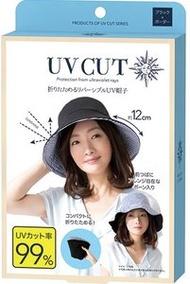 SUN-FAMILY - UV CUT摺疊雙面用防晒帽(黑色x邊框)【日本直送】