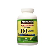 Kirkland Signature Extra Strength Vitamin D3 2000 I U 600 Softgels Bottle (Pack of 2)