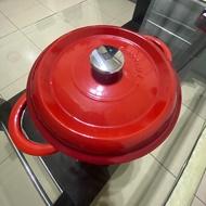 雙人牌琺瑯鑄鐵鍋 圓鍋24cm 二手近全新