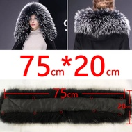 Cllikko 100 Real Fur Collar For Parkas Coats luxury Warm Natural Raccoon Scarf Women Large Fur Collar Scarves Male Jackets coat