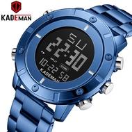 KADEMAN K9151 New Men's Sports Watch Full Steel Strap LCD Dual Display Fashion Quartz Wristwatch Waterproof