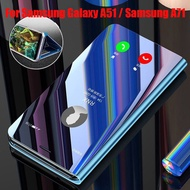 Samsung Galaxy A51 A71 Case Flip Mirror Plating Leather Casing Phone Samsung A51 A71 Cover Stand