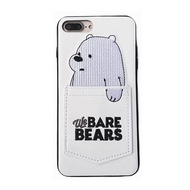 Card slot soft leather phone case Supr Cute We Bare Bears brothers for iphone 6 6s 7 8 plus X cover for iphone 7