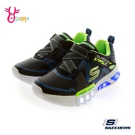 Skechers FLEX GLOW 中大童 新幹線閃燈 慢跑鞋 運動鞋 S8283#黑藍◆OSOME奧森鞋業