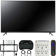 TCL 55S525 55-inch 5-Series Roku Smart HDR 4K UHD TV (2019) Bundle with Deco Mount Flat Wall Mount Kit, Deco Gear 2.4GHz Wireless Keyboard and 6-Outlet Surge Adapter with Night Light