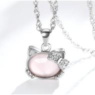 s925純銀粉色水晶芙蓉石可愛Hello Kitty項鍊吊墜飾
