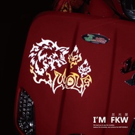 Reflective House FKW Wolf Reflective Stickers Fashion Style Motorcycle Stickers