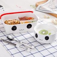 分隔陶瓷飯盒微波爐加熱專用帶蓋密封分格便當盒長方形保鮮碗學生  錢夫人小鋪