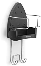 Brabantia Wall-Mounted Iron Rest and Hanging Ironing Board Holder - Cool Gray, 385742,Black