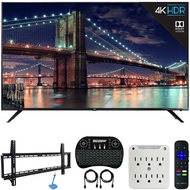TCL 55R617 55-inch Class 6-Series 4K HDR Roku Smart TV (2018 Model) Bundle with 37-70-inch Low Profile Wall Mount Kit, Deco Gear Wireless Keyboard and 6-Outlet Surge Adapter with Night Light