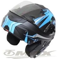【THH】新一代駭客全罩半罩可掀式雙鏡片安全帽 T797A+-黑藍M
