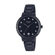 5Cgo CASIO SHEEN Black IP Ion Crystal Ladies Watch SHE-4056BD-1A Taiwan卡西欧