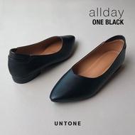 รองเท้าคัชชูผู้หญิง ไซส์ใหญ่ 35-46 ส้น 1 นิ้ว untone รองเท้าหนัง PU สีดำรุ่น ONE BLACK (NEW)
