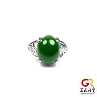 和田碧玉 碧玉蛋面戒指 925銀 銀白K 戒指  正佳珠寶