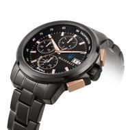 【MASERATI 瑪莎拉蒂】SUCCESSO 光動能玫瑰金黑鋼腕錶44mm(R8873645001)