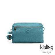 【KIPLING】靜謐藍綠手拿包-TRIM