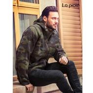 【La proie 萊博瑞】男式休閒厚實保暖羊毛大衣外套(軍綠迷彩-保暖蓄熱舒適)