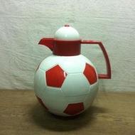 WH8795【四十八號老倉庫】全新 早期 日本 EVEREST 紅白 足球 水銀內膽 熱水瓶 保溫瓶 1.4L【懷舊收藏