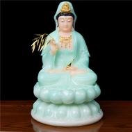 ✳❈實心漢白玉觀音石雕漢白玉觀音佛像客廳供佛擺件翠玉觀世音佛像