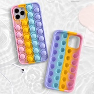 Pop it Phone Case for Samsung Galaxy A01 A02 M02 A02s M02s A11 A12 A20 A30 Samsung A21s A31 A32 4G A32 5G A50 A50s A30s A51 A52 Samsung A70 A70s A71 A72 Rainbow Soft Silicone Elasticity Casing Push It Relieve Stress Pop Fidget Toy Cases
