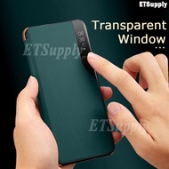 For Samsung A12 translucent Smartphone flip protective case Cover for Samsung Galaxy A12 Flip leather phone case