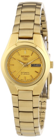 Women's SYMC18 Seiko 5 Automatic Gold Dial Gold-Tone Stainless Steel Watch