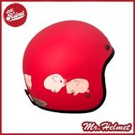【安全帽先生】EVO CA-309 CA309 粉紅豬 消光深粉 半罩 復古帽 安全帽
