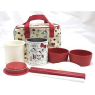 大賀屋 日貨 Hello Kitty 野餐組 不鏽鋼 保溫罐 飯盒 手提袋 筷子 便當盒 保鮮盒 J00012391