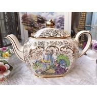 英國製Sadler華麗描金Crinoline Lady骨瓷茶壺