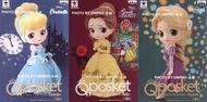 日版 Q Posket Disney 迪士尼 仙杜瑞拉 灰姑娘 貝兒 樂佩 單售A款 正常色 一套三款 Qposket 公仔