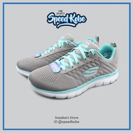 SKECHERS Air- Cooled 灰水藍網布 記憶墊 橘黃LOGO 女 12757GYLB-SPEEDKOBE-