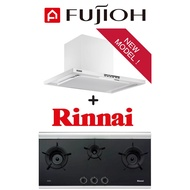 FUJIOH FR-CL1890 CHIMNEY HOOD WITH OIL SMASHER TECHNOLOGY + Rinnai RB-3CG 3 Burner Built-in Inner Flame Gas Hob