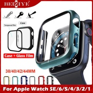 New Color Case+Tempered Glass Film กระจกกันรอย For Apple Watch 6 SE 5 4 44mm/40mm i Watch 3 2 1 38mm 42mm กระจกนิรภัย Smart Watch Screen Protector coverage Bumper case Forapple watch series 6 5 4 3 2 SE Screen Protector Film กรณี Acceccories