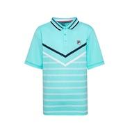 FILA 男抗UV吸濕排汗POLO衫-藍綠 1POU-1002-TQ