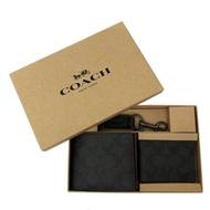 COACH 男款8卡短夾附鑰匙圈活動證件夾禮盒(PVC-黑褐)