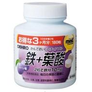 ORIHIRO 咀嚼錠 鐵劑 葉酸 維生素C 維生素B12 維生素B6 180錠/瓶 日本代購