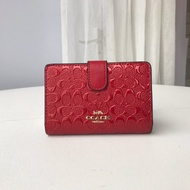 Coach ของแท้100% 25937ผู้หญิงกระเป๋าสตางค์ใบสั้น Emboss พับกระเป๋า