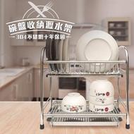 【收納架好評首推】304不鏽鋼雙層碗盤瀝水收納架(穩固耐用廚房收納好幫手)