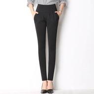 2019 แฟชั่นผู้หญิงเอวยางยืดยืด Slim - Fit คร็อปแพนท์
