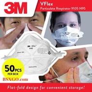 หน้ากาก 3M 9105 VFLEX N95 หน้ากากป้องกันแบบพับ 50 ชิ้น/กล่อง