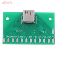 willbefly🆕TYPE-C Female Head Test Board USB 3.1 Connector Board With PCB Board 24P Base