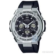 【CASIO】 卡西歐G-SHOCK 太陽能鬧鈴電子膠帶錶-黑 / GST-S310-1A (台灣公司貨)