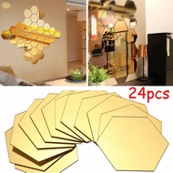 Mirror Stickers Sticker Mosaic Tiles Bathroom 24pcs Mirror Self-adhesive