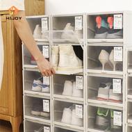 H&JOY Stackable Pull Type Transparent Plastic Shoe Storage Box Cabinet Drawer Organizers