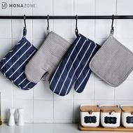 Monazone ผ้าฝ้ายทนความร้อนถุงมือเตาอบลายแบบเตาอบนวมเตาอบไมโครเวฟถุงมือ heatproof สองชิ้น