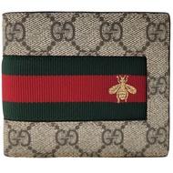 【GUCCI 古馳】408827 紅綠小蜜蜂刺繡對開短夾(棕色)